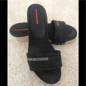 Prada Wooden Wedge Sandals